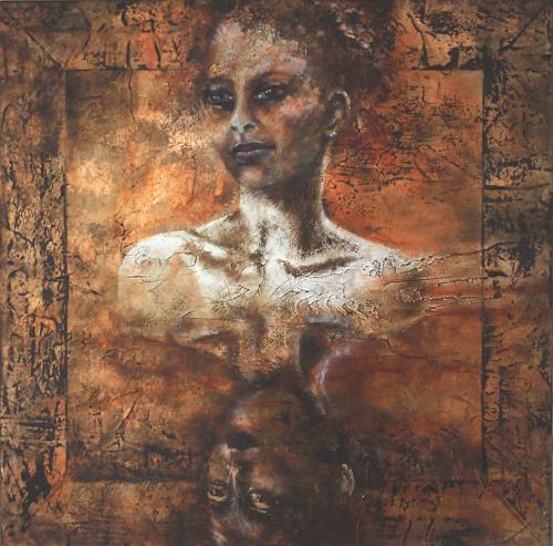 Carmen Heidi Kroese, Spiegelung, Menschen: Frau, Menschen: Gesichter, Gegenwartskunst, Expressionismus
