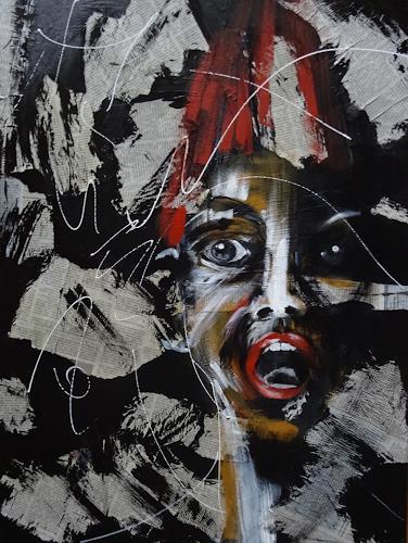 Carmen Heidi Kroese, Haarsträubende News, Menschen: Frau, Gefühle: Angst, expressiver Realismus, Abstrakter Expressionismus