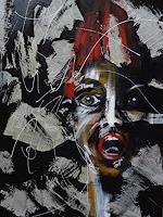 Carmen-Heidi-Kroese-Menschen-Frau-Gefuehle-Angst-Moderne-expressiver-Realismus