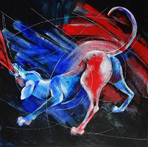 Carmen Heidi Kroese, er will nur spielen, Tiere: Land, Gefühle: Aggression, expressiver Realismus, Abstrakter Expressionismus