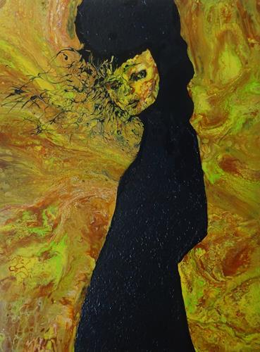 Carmen Heidi Kroese, abwarten, Menschen: Frau, Menschen: Porträt, expressiver Realismus, Abstrakter Expressionismus