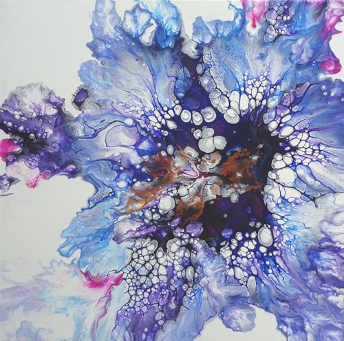 Carmen Heidi Kroese, Perlenregen, Landschaft: See/Meer, Diverse Pflanzen, Action Painting