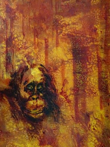 Carmen Heidi Kroese, Der Regenwald brennt, Tiere: Land, Tod/Krankheit, expressiver Realismus, Abstrakter Expressionismus