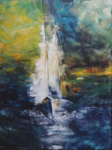 Carmen Heidi Kroese, vor dem Sturm, Landschaft: See/Meer, Sport, expressiver Realismus, Expressionismus
