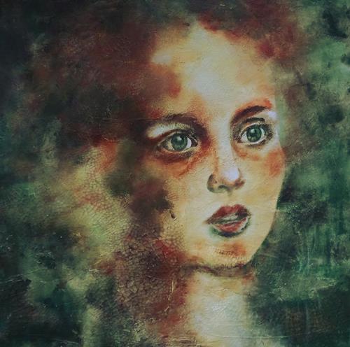 Carmen Heidi Kroese, was bringt die Zukunft, Menschen: Porträt, Gefühle: Angst, expressiver Realismus