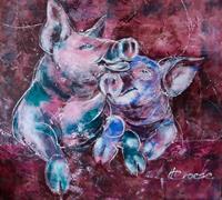Carmen-Heidi-Kroese-Tiere-Land-Gefuehle-Freude-Moderne-expressiver-Realismus
