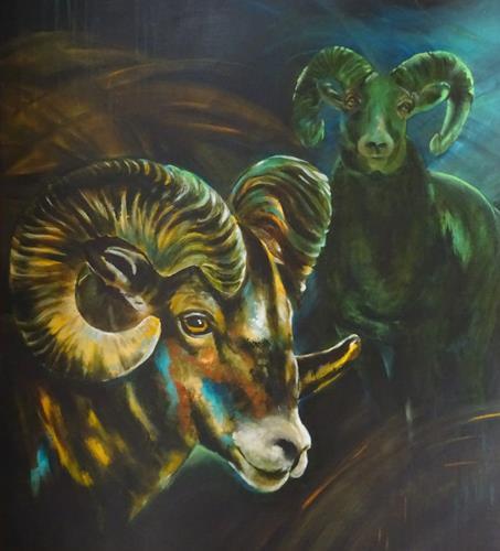 Carmen Heidi Kroese, Begegnung, Tiere: Land, Situationen, expressiver Realismus, Expressionismus