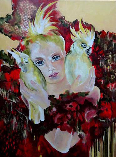 Carmen Heidi Kroese, Kakadus, Menschen: Frau, Tiere: Luft, expressiver Realismus