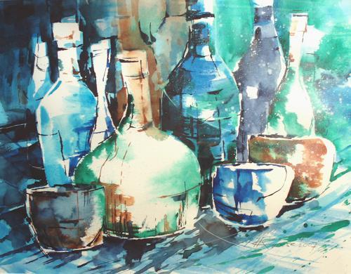 Carmen Kroese, Flaschenstillleben blau, Stilleben, Party/Feier, Moderne, Expressionismus