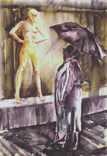 Carmen Heidi Kroese, Dialog im Regen, Menschen: Gruppe, Diverse Gefühle, Gegenwartskunst, Abstrakter Expressionismus