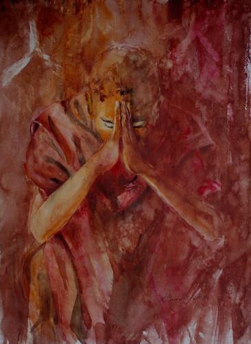 Carmen Kroese, Betender Mönch, Glauben, Menschen: Mann, Gegenwartskunst, Expressionismus