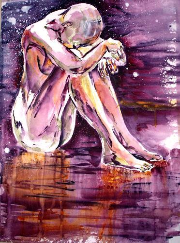 Carmen Kroese, Akt sitzend, Akt/Erotik: Akt Frau, Gefühle: Trauer, Gegenwartskunst, Expressionismus