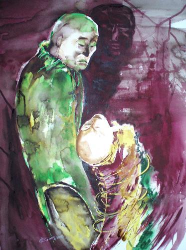 Carmen Kroese, Angst macht krumm, Gefühle: Angst, Menschen: Gruppe, Gegenwartskunst, Expressionismus