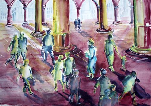 Carmen Heidi Kroese, Menschen und Schatten I, Menschen: Gruppe, Architektur, Gegenwartskunst, Expressionismus