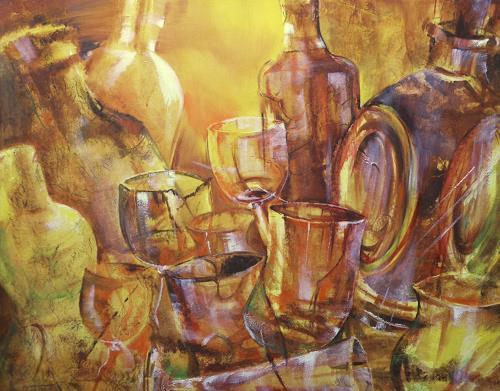 Carmen Kroese, Whiskyflaschen und Gläser, Party/Feier, Stilleben, Gegenwartskunst