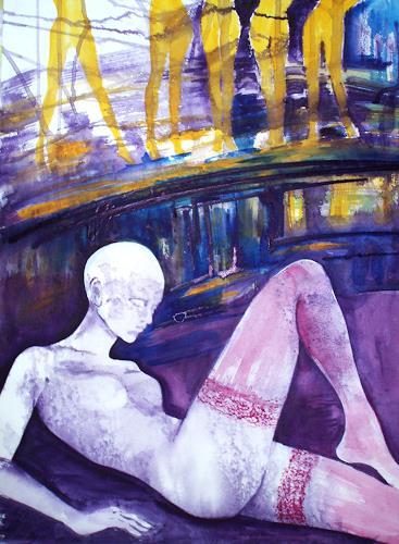 Carmen Kroese, Burn out einer Schaufensterpuppe, Akt/Erotik: Akt Frau, Menschen: Frau, Gegenwartskunst, Abstrakter Expressionismus