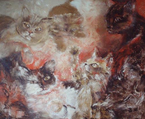 Carmen Kroese, Samtpfoten, Tiere: Land, Stilleben, Gegenwartskunst