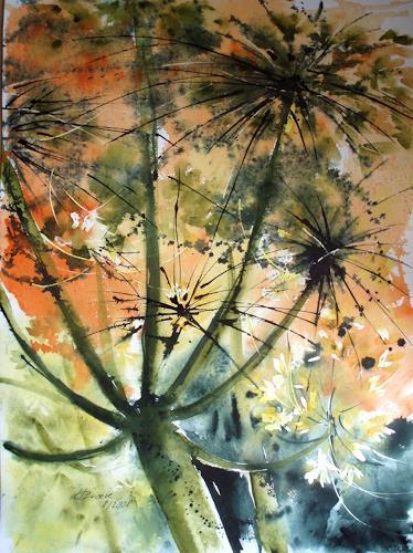 Carmen Kroese, Wiesenblumen aus der Froschperspektive, Natur: Erde, Pflanzen: Blumen, Gegenwartskunst, Expressionismus