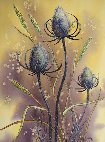 Kerstin Birk, Wilde Karde und Getreide, Diverse Pflanzen, Stilleben, Realismus, Neuzeit