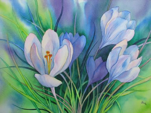 Kerstin Birk, Weiße Krokusse, Pflanzen: Blumen, Zeiten: Frühling, Realismus, Neuzeit
