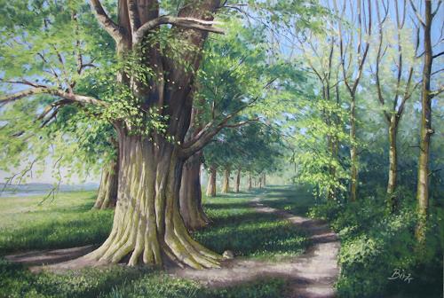 Kerstin Birk, Frühling an der Elbe (b. Kreinitz), Landschaft: Frühling, Pflanzen: Bäume, Realismus, Neuzeit
