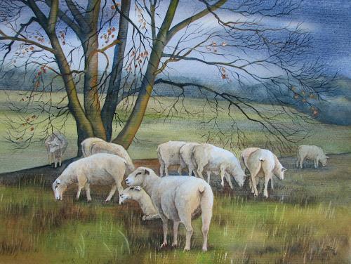 Kerstin Birk, Schafe auf den Elbwiesen (b. Bobersen), Landschaft: Herbst, Tiere: Land, Realismus, Neuzeit