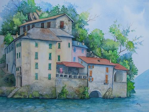 Kerstin Birk, Häuser am Comer See, Architektur, Bauten: Haus, Realismus