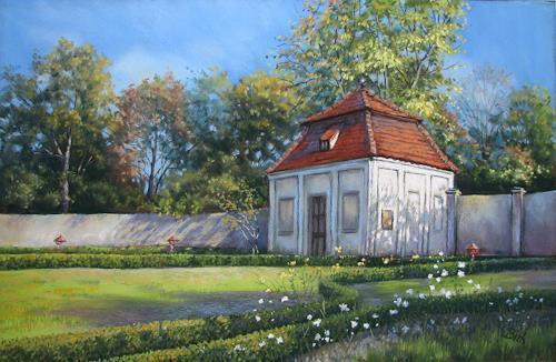 Kerstin Birk, Ein schöner Herbsttag im Rosengarten (Tiefenau), Landschaft: Herbst, Architektur, Realismus, Neuzeit