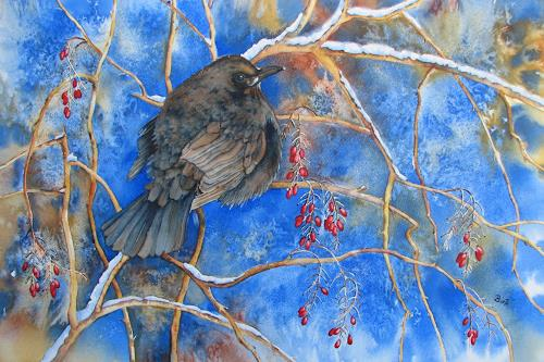 Kerstin Birk, Amsel und rote Beeren, Tiere: Luft, Zeiten: Winter, Realismus, Expressionismus