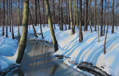 Kerstin Birk, Bach im Winter (Zabeltitz), Landschaft: Winter, Pflanzen: Bäume, Realismus, Neuzeit