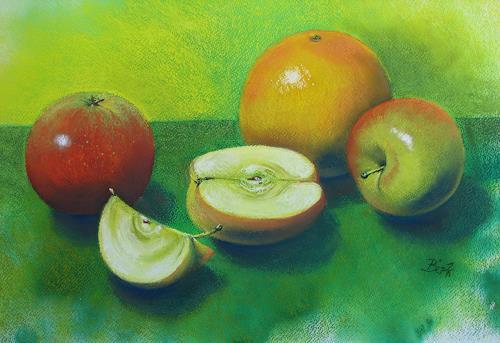Kerstin Birk, Äpfel und Grapefruit, Pflanzen: Früchte, Stilleben, Realismus, Neuzeit