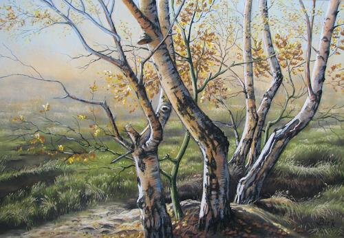 Kerstin Birk, Gohrisch Heide I (Gohlis), Landschaft: Herbst, Pflanzen: Bäume, Realismus, Expressionismus