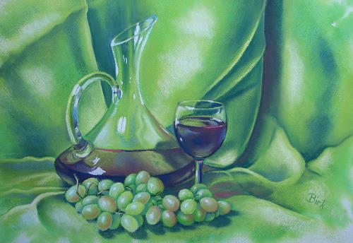 Kerstin Birk, Rotwein und Trauben 1, Stilleben, Essen, Realismus, Neuzeit