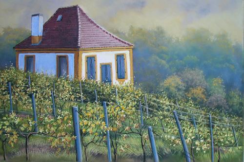 Kerstin Birk, Winzerhaus Luisenburg (Diesbar-Seußlitz), Landschaft: Herbst, Architektur, Realismus