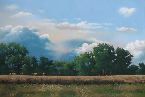 Kerstin Birk, Nahendes Gewitter (Jahnatal), Landschaft: Sommer, Landschaft: Ebene, Realismus, Neuzeit