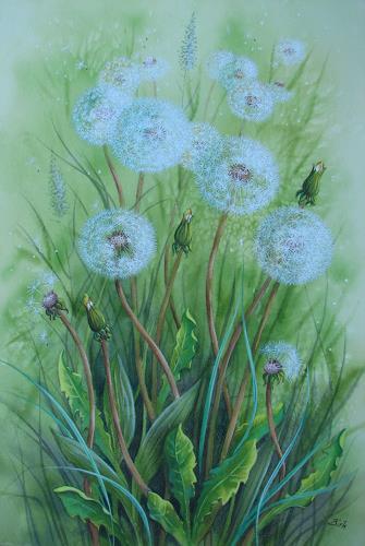 Kerstin Birk, Pusteblumen, Pflanzen: Blumen, Landschaft: Frühling, Realismus, Neuzeit