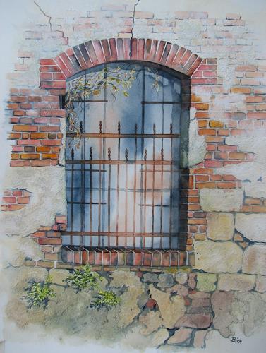 Kerstin Birk, Altes Fenster (Mühle Oelsitz), Architektur, Bauten: Haus, Realismus, Neuzeit