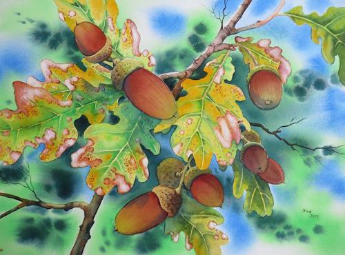 Kerstin Birk, Eicheln, Landschaft: Herbst, Pflanzen: Bäume, Realismus