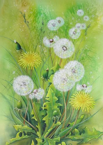 Kerstin Birk, Pusteblumen II, Pflanzen: Blumen, Zeiten: Frühling, Realismus, Expressionismus