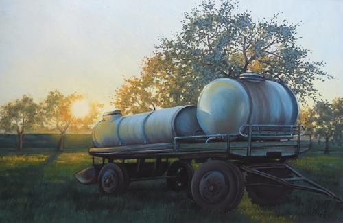 Kerstin Birk, Wassertankhänger in der Abendsonne, Landschaft: Sommer, Verkehr: Lastwagen, Realismus, Expressionismus
