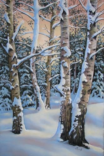 Kerstin Birk, Verschneite Birken I, Natur: Wald, Pflanzen: Bäume, Realismus, Expressionismus