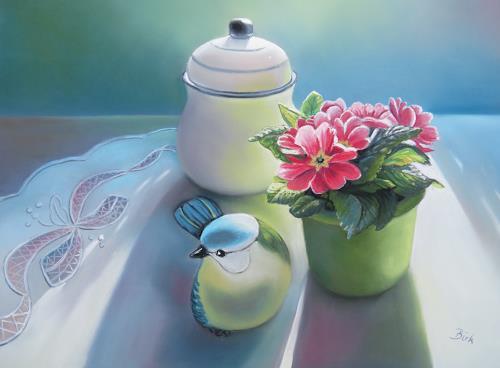 Kerstin Birk, Pink Primel und Keramikvogel, Stilleben, Pflanzen: Blumen, Realismus, Expressionismus