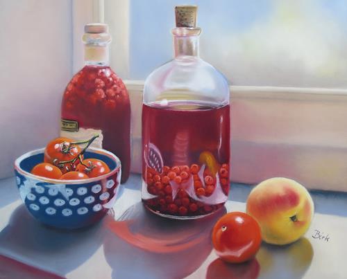 Kerstin Birk, Likör und Tomaten, Stilleben, Ernte, Realismus, Expressionismus