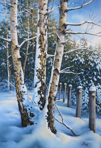 Kerstin Birk, Verschneite Birken II (Röderau), Landschaft: Winter, Pflanzen: Bäume, Realismus, Expressionismus