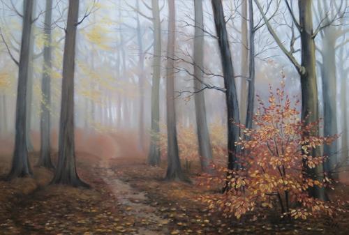 Kerstin Birk, Nebel im Buchenwald, Landschaft, Pflanzen: Bäume, Realismus, Expressionismus