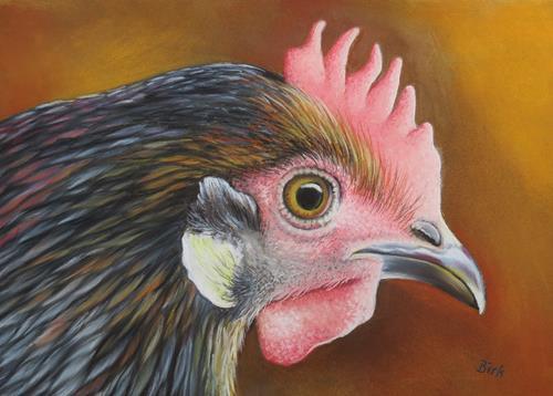 Kerstin Birk, Henne, Tiere: Land, Diverse Tiere, Realismus, Expressionismus