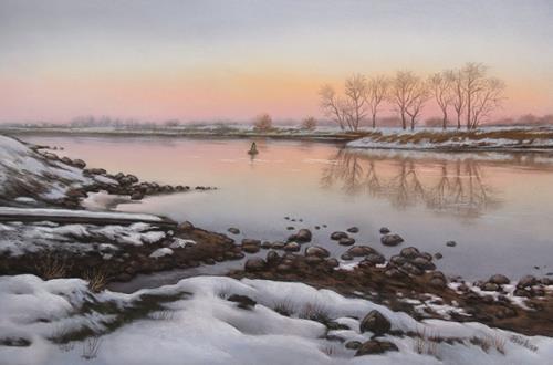Kerstin Birk, Kalter Winterabend, Landschaft: Winter, Natur: Wasser, Realismus, Expressionismus
