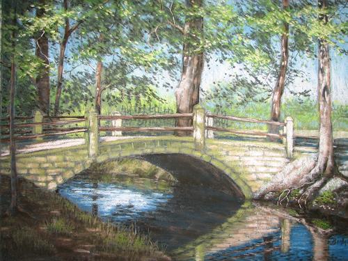 Kerstin Birk, Brücke im Spiegel, Landschaft: Sommer, Natur: Wasser, Realismus, Neuzeit
