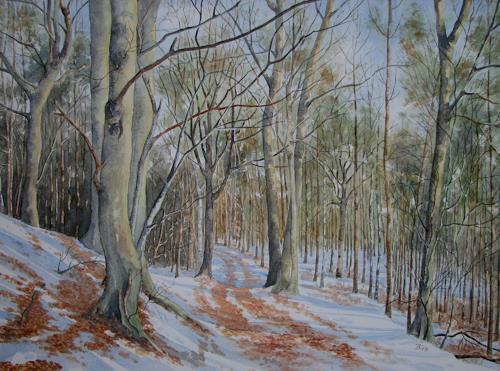 Kerstin Birk, Winterspaziergang, Landschaft: Winter, Natur: Wald, Realismus, Neuzeit