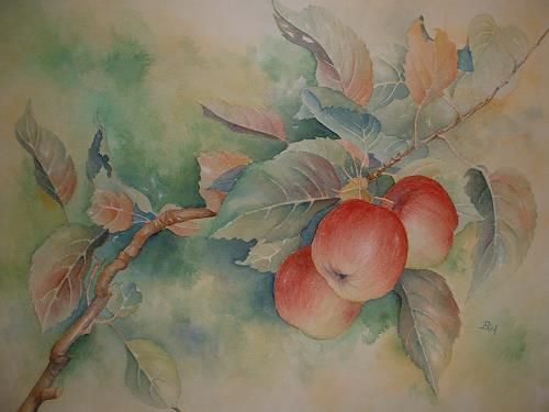 Kerstin Birk, Apfelzweig, Pflanzen: Früchte, Zeiten: Herbst, Realismus